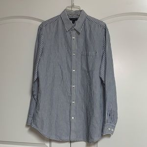 Banana Republic Blue White Stripe Linen Shirt L